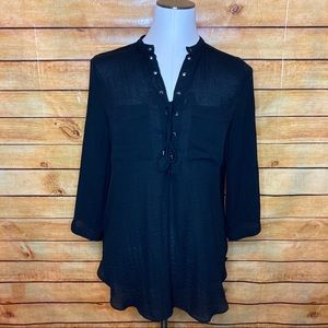 a.n.a. Black Sheer Lace Up Neck 3/4 Sleeve Top Med